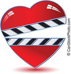 Clapper board with heart .Vector - movie clapper board
