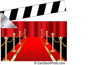 Clapper board with Red carpet