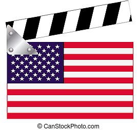 Clapper board with USA flag