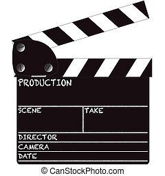 A director's clapper board isolated on a white background