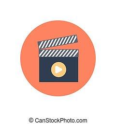 clapper  flat color icon