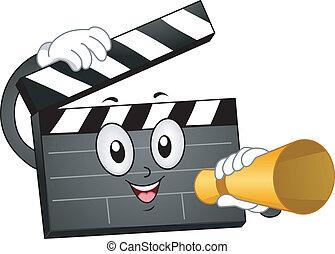 Mascot Illustration of a Clapper Making an Announcement
