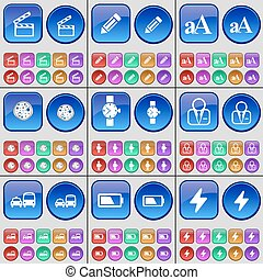 Clapper, Pencil, Font, Pizza, Wrist watch, Avatar, Transport, Battery, Flash. A large set of multi-colored buttons. Vector