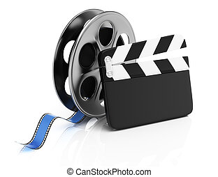 Clapperboard and film reel isolated on white background. 3d...
