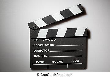 clapperboard, bioscoop, op wit