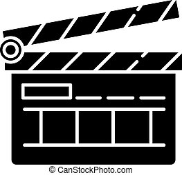 Clapperboard black glyph icon