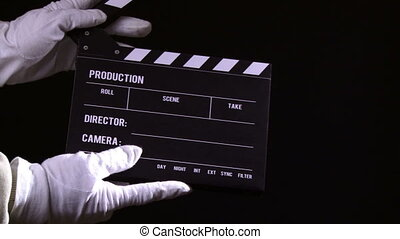 Clapperboard, clapper, 2 clips sequence, film and...