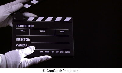 Clapperboard, clapper, take 1, film industry.