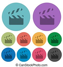 Clapperboard color darker flat icons