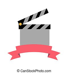 clapperboard film industry on white background vector illustration