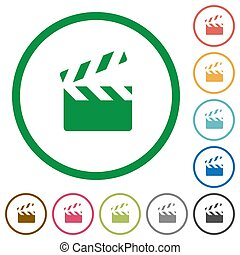 Clapperboard flat icons with outlines