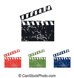 Clapperboard grunge icon set