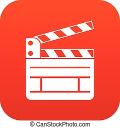 Clapperboard icon digital red