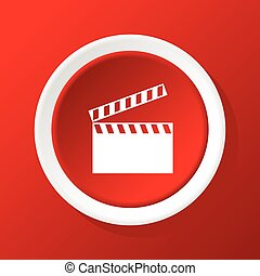 Clapperboard icon on red