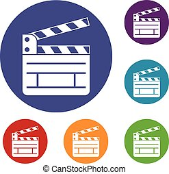 Clapperboard icons set