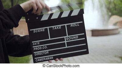 clapperboard, liście, człowiek, frame., klepie, video,...