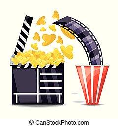 clapperboard, mit, popcorn, und, filmstrip, szene