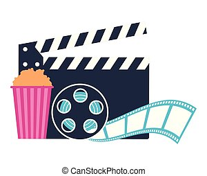 clapperboard reel and popcorn production movie film