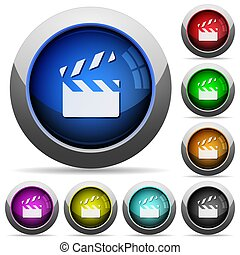 Clapperboard round glossy buttons