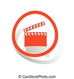 Clapperboard sign sticker, orange
