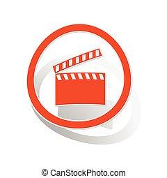 Clapperboard sign sticker, orange