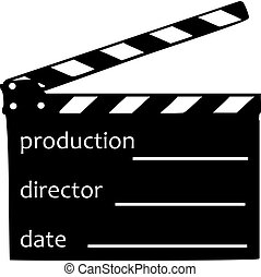 Clapperboard with production, director and date