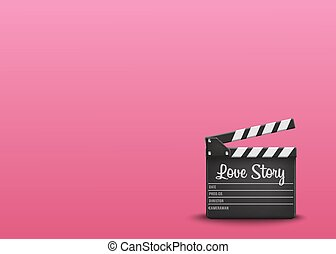Clapperboard with text Love Story on orange background. Vector