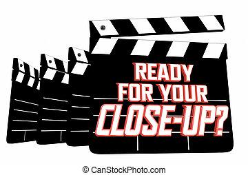 clappers, film, primo piano, tuo, pronto, illustrazione, 3d, film