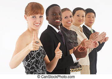 a group of young, international businesspeople standing in one row, the redhaired girl in the front as the boss