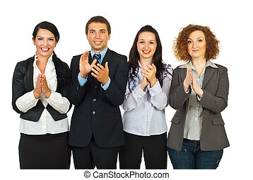 Clapping business people in a row