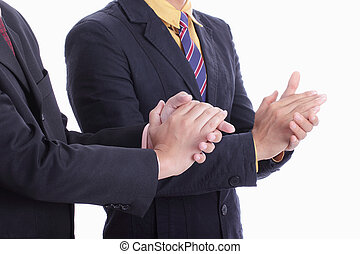 clapping hands for welcome and congratulation for appreciate...