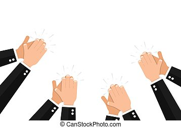 Clapping hands of people wearing elegant formal suits on white background. Banner template with applause, public approval or praise for luxury event celebration. Flat cartoon vector illustration.