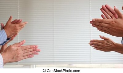 Clapping hands on white background 4k. slow motion. copy space