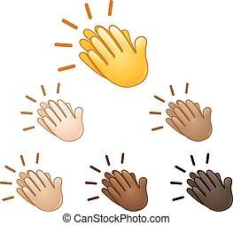 Clapping hands sign emoji set of various skin tones