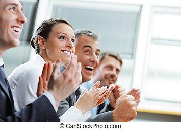clapping, pessoas negócio