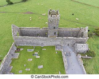 clare, abadia, ruínas, município clare, irlanda