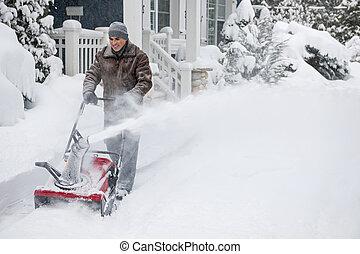 clareira, snowblower, entrada carro, homem