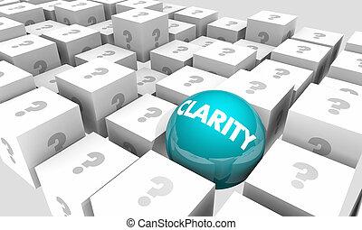 claridade, entre, claro, comunicar, ilustração, comunicação, mensagem, original, confusão, 3d