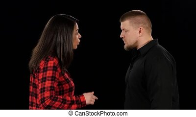 clarification, relation, haut, émotif, conversation., entre, fin, woman., homme