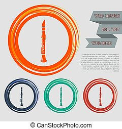 Clarinet icon on the red, blue, green, orange buttons for your website and design with space text. Vector