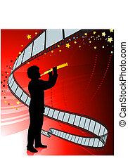 Clarinet player on film reel background