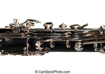 Clarinet - Classic Black B Clarinet on white background.