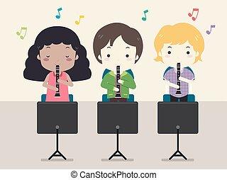 clarinete, crianças, música, classe, ilustração