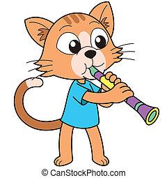 clarinete, gato, tocando, caricatura