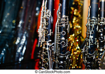 Clarinets in a shop window of musical instruments