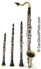 Clarinets - Bb, Eb, Bass Clarinet, and a  C Clarinet