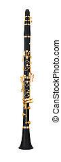 clarinette, blanc, isolé, fond