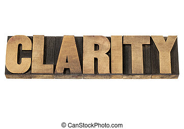 clarity in wood type - clarity word - isolated text in...