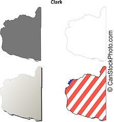 Clark County, Washington outline map set
