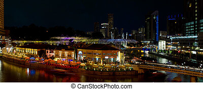 clarke quay, シンガポール, 夜現場, パノラマ
